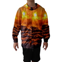 SUNSET OVER CLOUDS Hooded Wind Breaker (Kids)