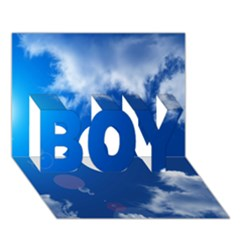Sun Sky And Clouds Boy 3d Greeting Card (7x5)