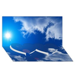 Sun Sky And Clouds Twin Heart Bottom 3d Greeting Card (8x4)