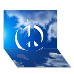 SUN SKY AND CLOUDS Peace Sign 3D Greeting Card (7x5)