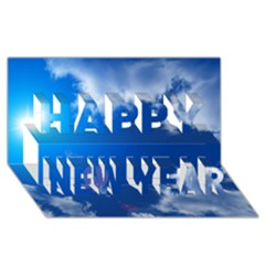 SUN SKY AND CLOUDS Happy New Year 3D Greeting Card (8x4)