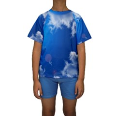 SUN SKY AND CLOUDS Kid s Short Sleeve Swimwear