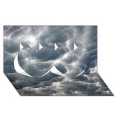 STORM CLOUDS 2 Twin Hearts 3D Greeting Card (8x4)