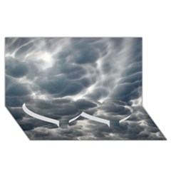 STORM CLOUDS 2 Twin Heart Bottom 3D Greeting Card (8x4)