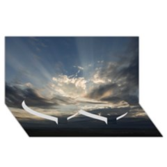 Heaven Rays Twin Heart Bottom 3d Greeting Card (8x4)