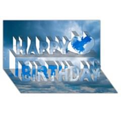 CUMULUS CLOUDS Happy Birthday 3D Greeting Card (8x4)