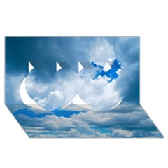 CUMULUS CLOUDS Twin Hearts 3D Greeting Card (8x4)
