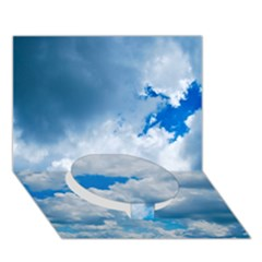 CUMULUS CLOUDS Circle Bottom 3D Greeting Card (7x5)