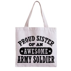 Proud Army Soldier Sister Zipper Grocery Tote Bag