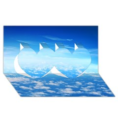 Clouds Twin Hearts 3d Greeting Card (8x4)