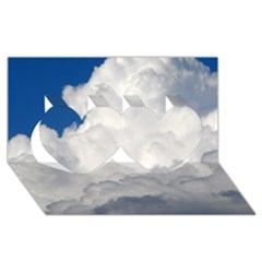 Big Fluffy Cloud Twin Hearts 3d Greeting Card (8x4)