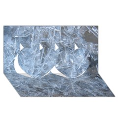 WATERY ICE SHEETS Twin Hearts 3D Greeting Card (8x4)