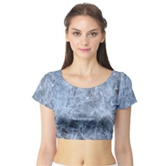 WATERY ICE SHEETS Short Sleeve Crop Top