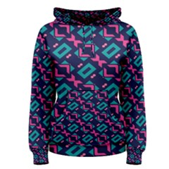 Pink and blue shapes pattern Women s Pullover Hoodie