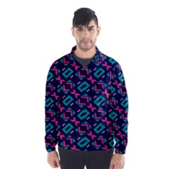 Pink And Blue Shapes Pattern Wind Breaker (men)
