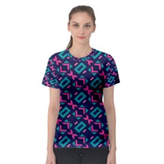 Pink and blue shapes pattern Women s Sport Mesh Tee