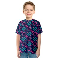 Pink and blue shapes pattern Kid s Sport Mesh Tee