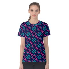 Pink and blue shapes pattern Women s Cotton Tee
