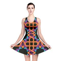 Juxtaposed Shapes Reversible Skater Dress