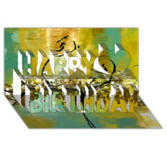 She Open s to the Moon Happy Birthday 3D Greeting Card (8x4)