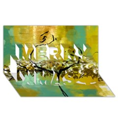 She Open s to the Moon Merry Xmas 3D Greeting Card (8x4)