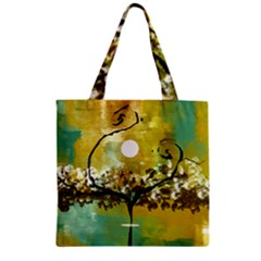 She Open s To The Moon Zipper Grocery Tote Bags