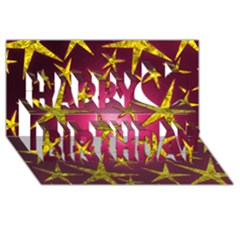 Star Burst Happy Birthday 3D Greeting Card (8x4)