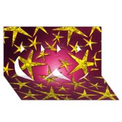 Star Burst Twin Hearts 3d Greeting Card (8x4)