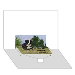 Border Collie Love W Picture Heart Bottom 3D Greeting Card (7x5)