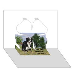 Border Collie Love W Picture Clover 3d Greeting Card (7x5)
