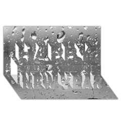 WATER DROPS 4 Happy New Year 3D Greeting Card (8x4)