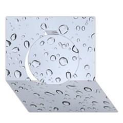 WATER DROPS 2 Circle 3D Greeting Card (7x5)