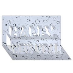 WATER DROPS 2 Happy New Year 3D Greeting Card (8x4)