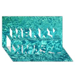 Turquoise Water Merry Xmas 3d Greeting Card (8x4)