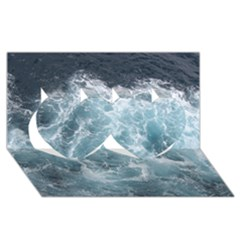 Ocean Waves Twin Hearts 3d Greeting Card (8x4)
