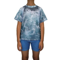 Ocean Waves Kid s Short Sleeve Swimwear