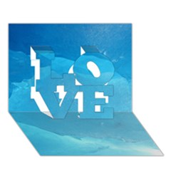 LIGHT TURQUOISE ICE LOVE 3D Greeting Card (7x5)