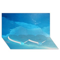 LIGHT TURQUOISE ICE Twin Heart Bottom 3D Greeting Card (8x4)