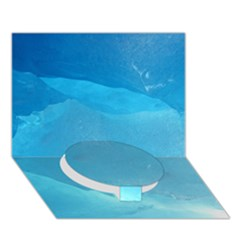 LIGHT TURQUOISE ICE Circle Bottom 3D Greeting Card (7x5)