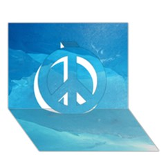 Light Turquoise Ice Peace Sign 3d Greeting Card (7x5)