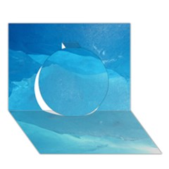 LIGHT TURQUOISE ICE Circle 3D Greeting Card (7x5)