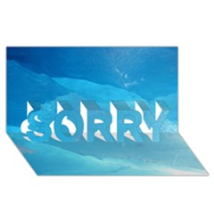 Light Turquoise Ice Sorry 3d Greeting Card (8x4)