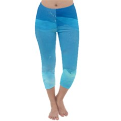 Light Turquoise Ice Capri Winter Leggings