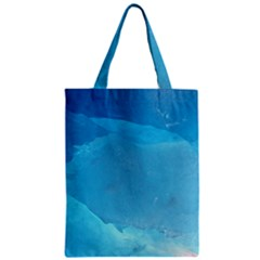 Light Turquoise Ice Zipper Classic Tote Bags