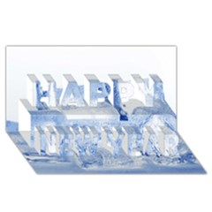 ICE CUBES Happy New Year 3D Greeting Card (8x4)