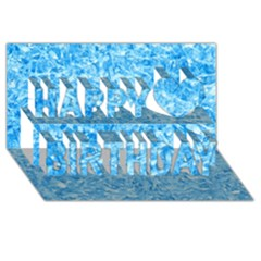 Blue Ice Crystals Happy Birthday 3d Greeting Card (8x4)
