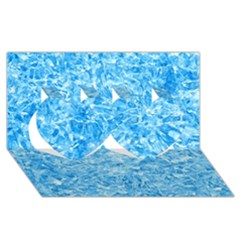 BLUE ICE CRYSTALS Twin Hearts 3D Greeting Card (8x4)