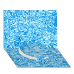 Blue Ice Crystals Circle Bottom 3d Greeting Card (7x5)