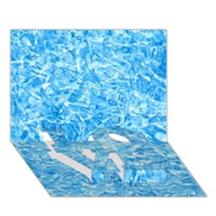 BLUE ICE CRYSTALS LOVE Bottom 3D Greeting Card (7x5)