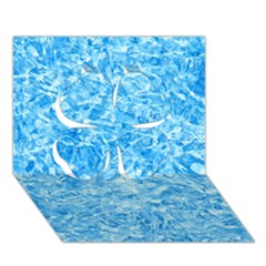 Blue Ice Crystals Clover 3d Greeting Card (7x5)